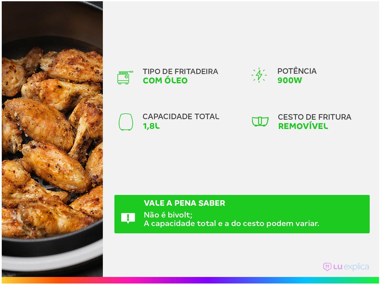 Fritadeira com Óleo Philco Deep Fry 1,8L - Inox - 110V - 2
