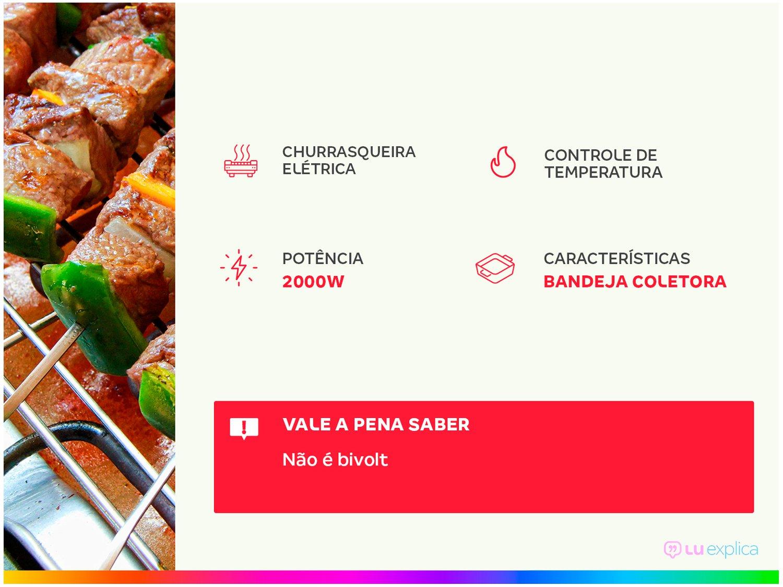 Foto 2 - Churrasqueira Elétrica Mondial 1800W - Coletor de Gordura Grand Steak & Grill II