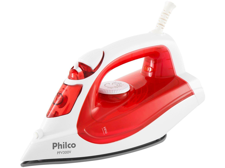 Ferro de Passar a Vapor e a Seco Philco PFV300V - Branco e Vermelho com Salva Botões - 110 V - 1