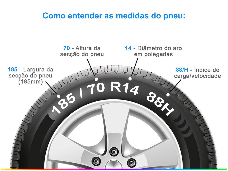 """Pneu Aro 14"""" Continental 185/70R14 88H - PowerContact 2 - 4"""