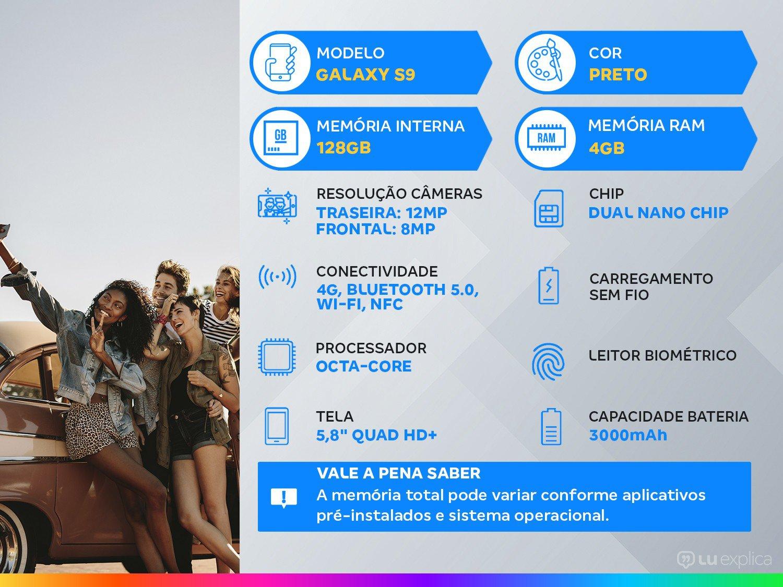 "Smartphone Samsung Galaxy S9 128GB Preto 4G - 4GB RAM Tela 5.8"" Câm. 12MP + Câm. Selfie 8MP - 1"