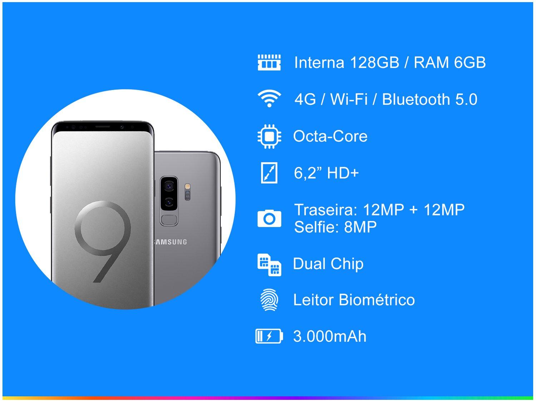 Foto 2 - Smartphone Samsung Galaxy S9+ 128GB Cinza 4G - 6GB RAM Tela 6,2 Câm. Dupla + Câm. Selfie 8MP