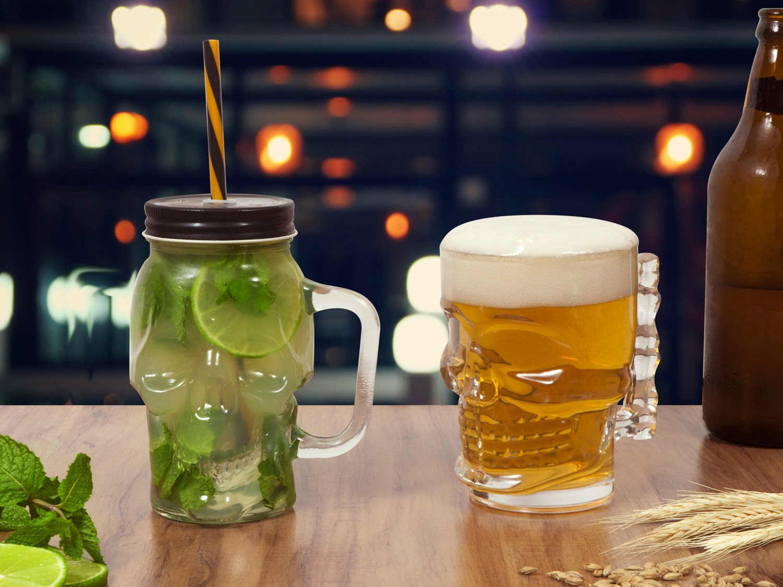 Conjunto de Caneca Vidro para Cerveja 450 e 510ml - 2 Peças Lyor Caveira Rock Style - 1
