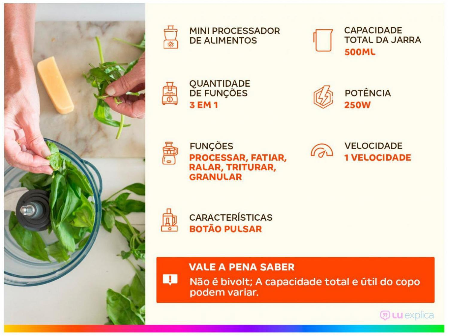 Mini Processador de Alimentos Philco PH900P Turbo 250W – Preto - 220V - 4