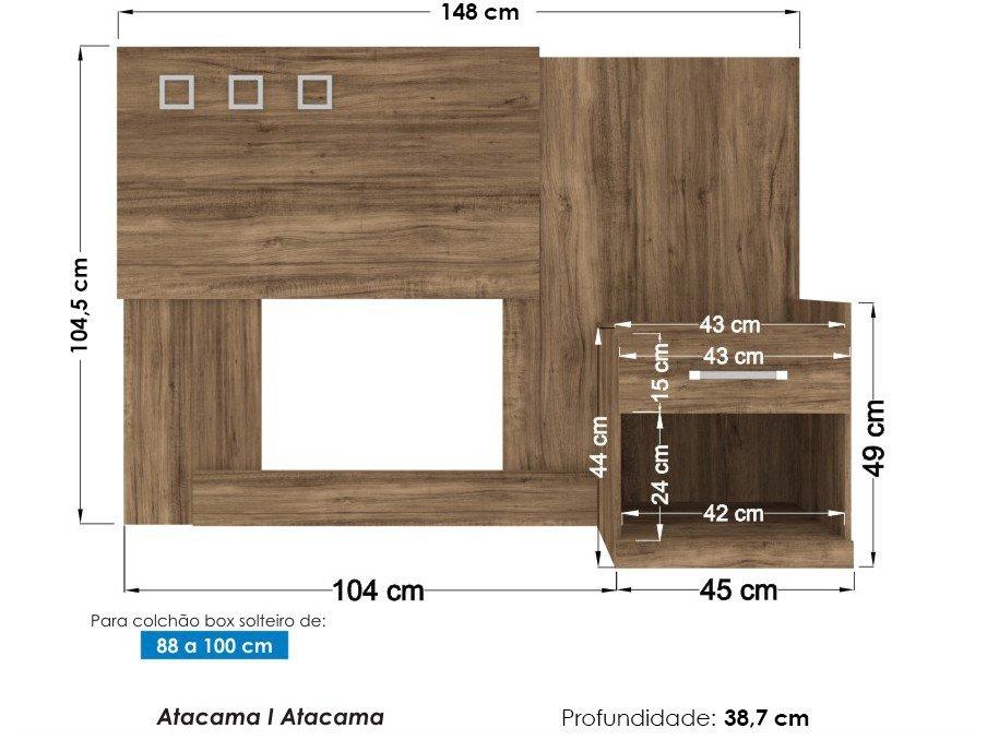 Cabeceira para Cama Box Solteiro Santos Andirá Havana Plus com Criado-Mudo - Atacama - 8