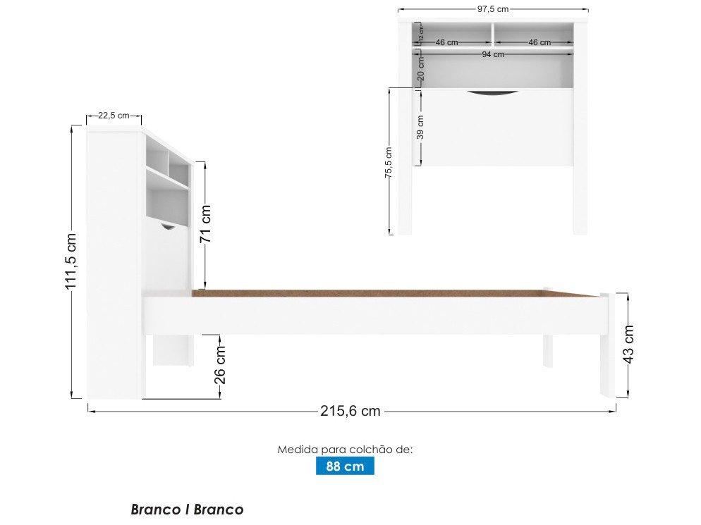 Cama Solteiro 88x188cm Baú Santos Andirá - Contemporânea Invicta - 2