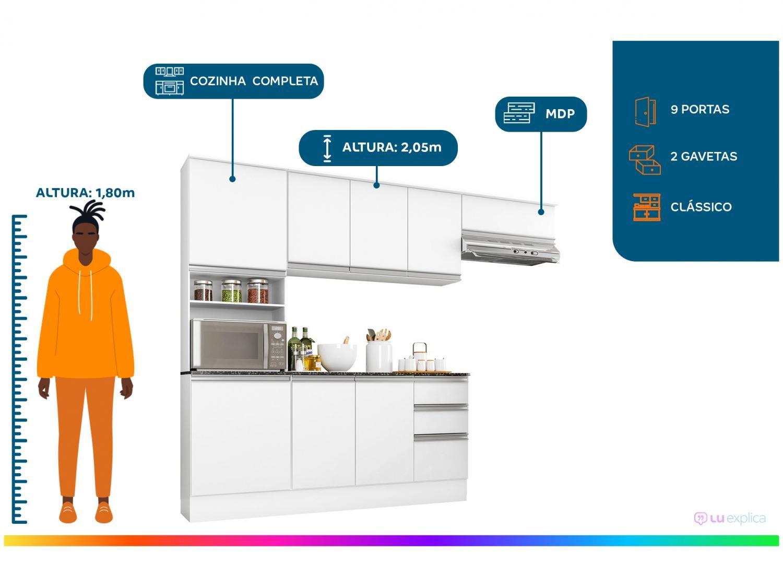 Cozinha Completa Poliman Móveis Paris - com Balcão Nicho para Forno ou Micro-ondas - 1