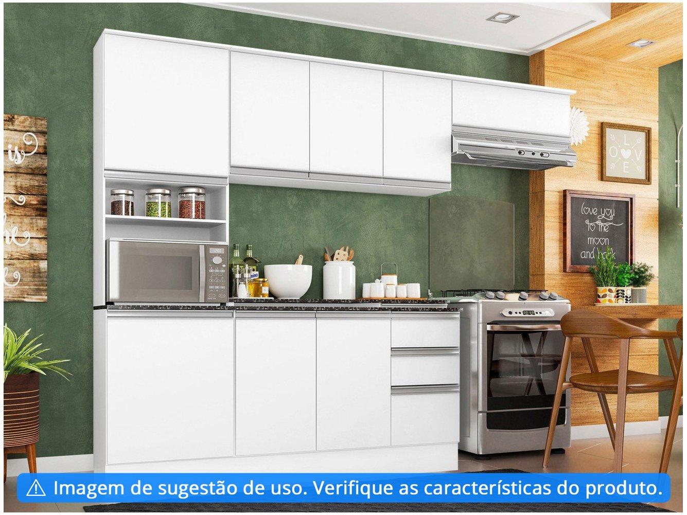 Cozinha Completa Poliman Móveis Paris - com Balcão Nicho para Forno ou Micro-ondas - 2