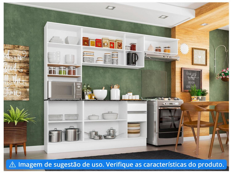 Cozinha Completa Poliman Móveis Paris - com Balcão Nicho para Forno ou Micro-ondas - 3