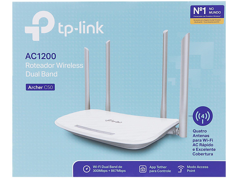 Roteador Wireless TP-Link Archer C50 - 867mbps 4 Antenas 5 Portas - Bivolt - 3