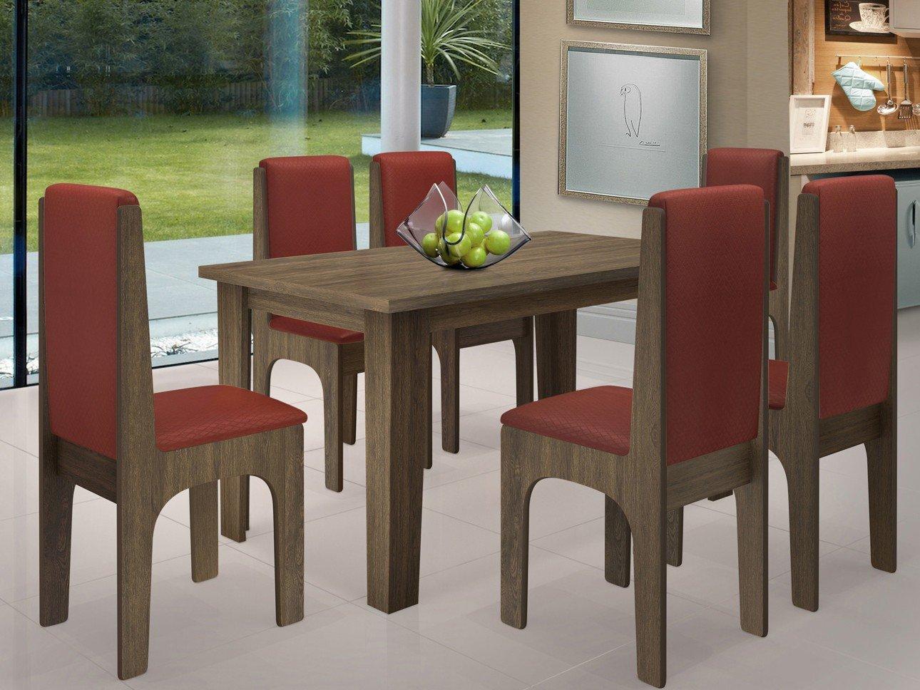 Foto 1 - Conjunto de Mesa com 6 Cadeiras Estofadas - Dobuê Movelaria Miami