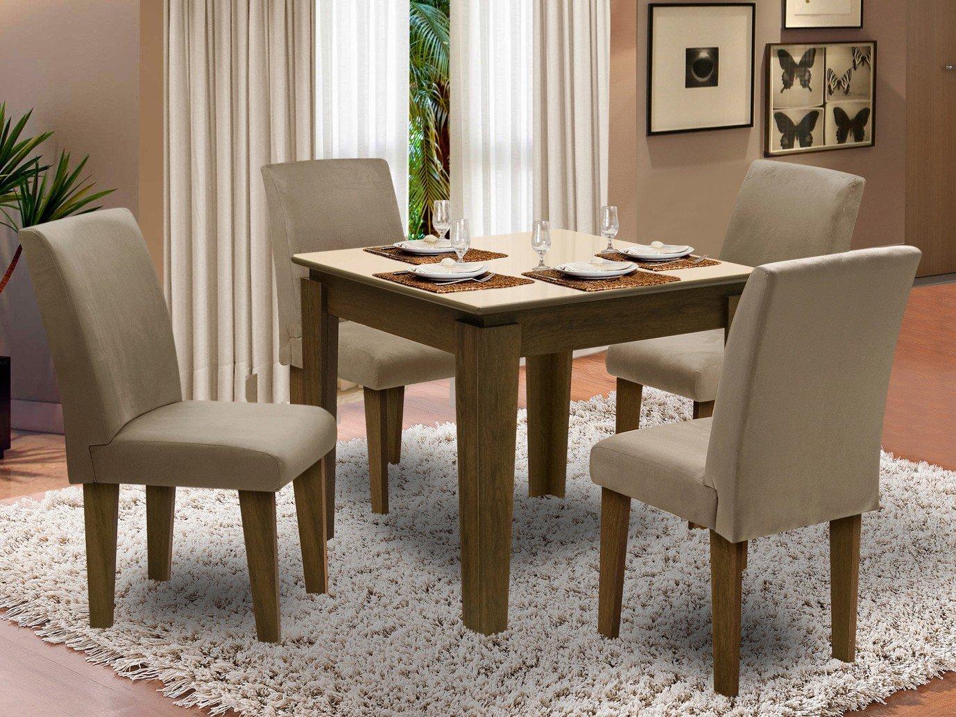 Foto 1 - Conjunto de Mesa com 4 Cadeiras Estofadas - Dobuê Movelaria Siena
