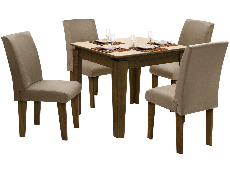 Foto 2 - Conjunto de Mesa com 4 Cadeiras Estofadas - Dobuê Movelaria Siena