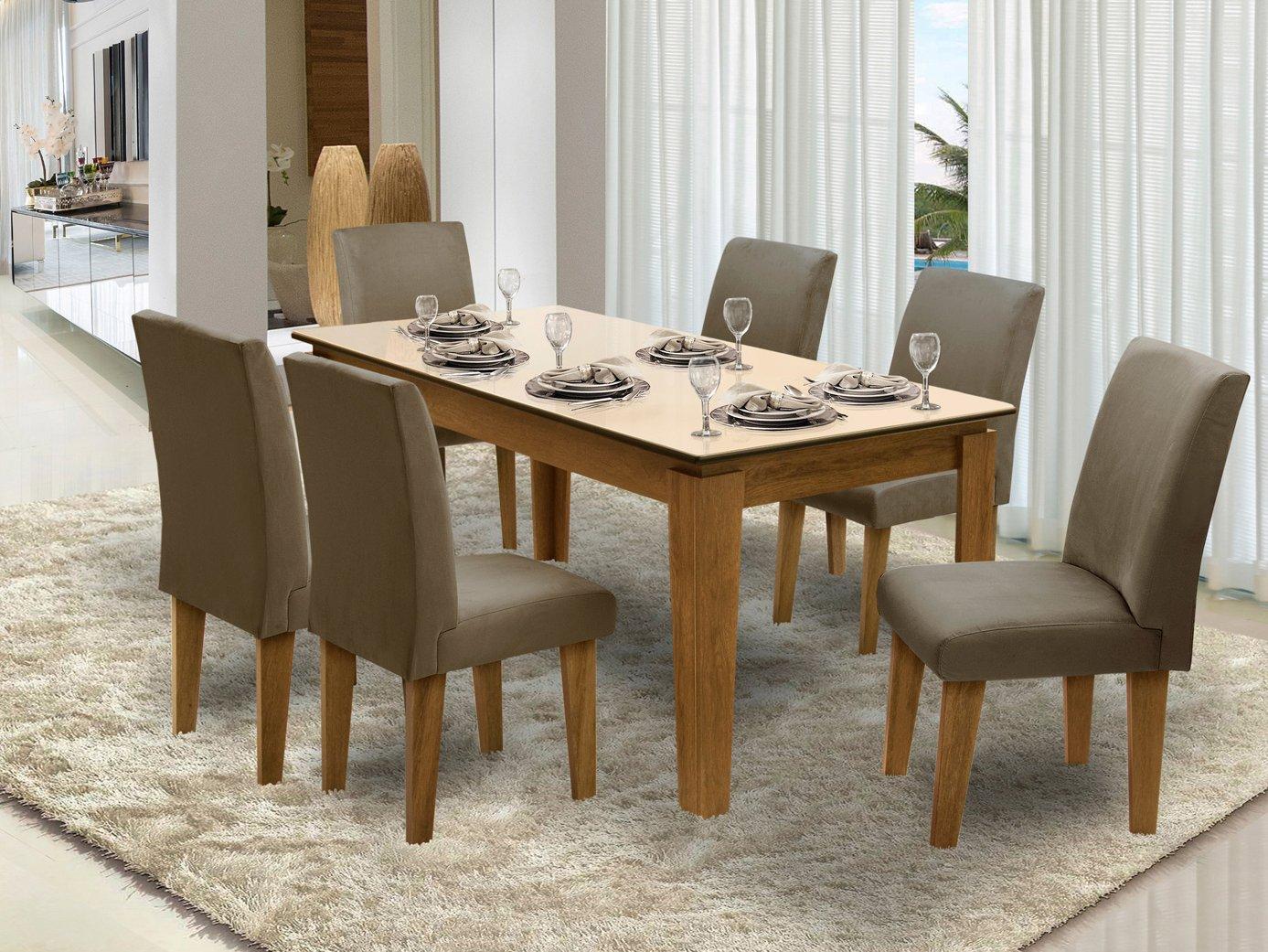 Foto 1 - Conjunto de Mesa com 6 Cadeiras Estofadas - Dobuê Movelaria Siena
