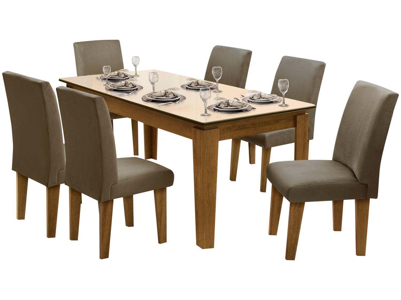 Foto 2 - Conjunto de Mesa com 6 Cadeiras Estofadas - Dobuê Movelaria Siena