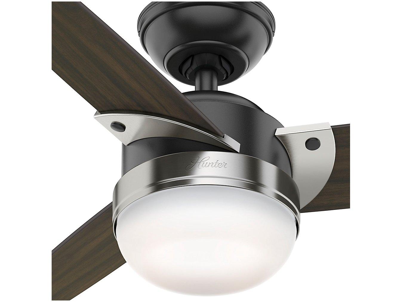 Ventilador de Teto Hunter Nova 3 Pás 3 Velocidades - Preto Fosco e Nogueira Escura para 2 Lâmpadas - 220 V - 1