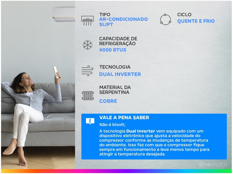 Ar-condicionado Split LG Inverter 9.000 BTUs - Quente/Frio Dual Inverter S4W09WA5WA - 220 V - 2