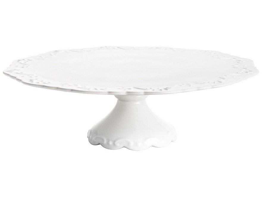 Prato para Bolo de Porcelana Redonda Wolff - Alto Relevo