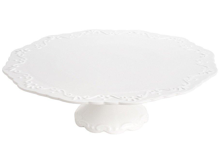 Foto 2 - Prato Para Bolo de Cerâmica Bon Gourmet Rendondo - Alto Relevo