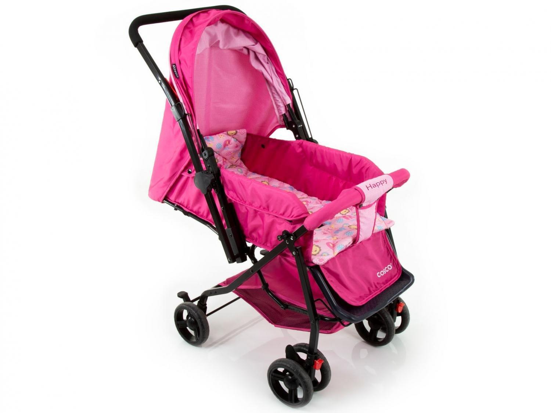 Carrinho de Bebê Passeio Cosco Happy Reclinável - Alça Reversível 3 Posições para Crianças até 15kg - 12
