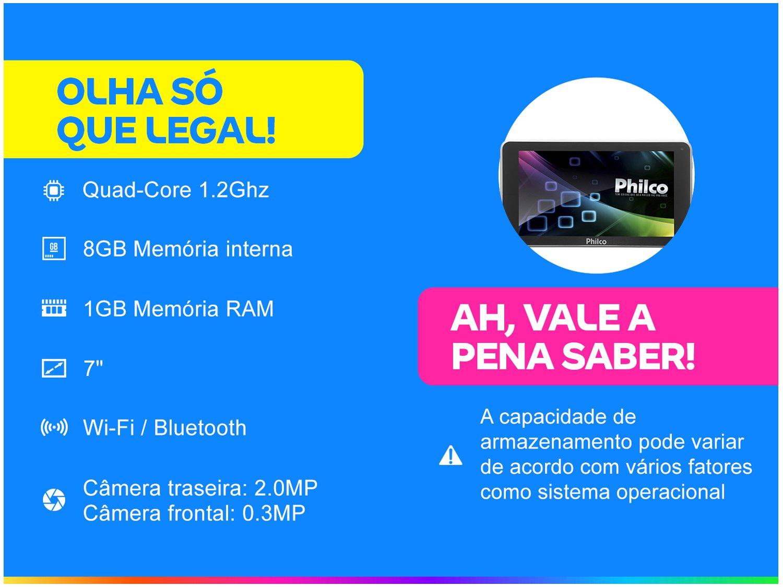 Foto 2 - Tablet Philco PTB7QSG 8GB 7 Wi-Fi - Android 7.1.2 Nougat Quad Core