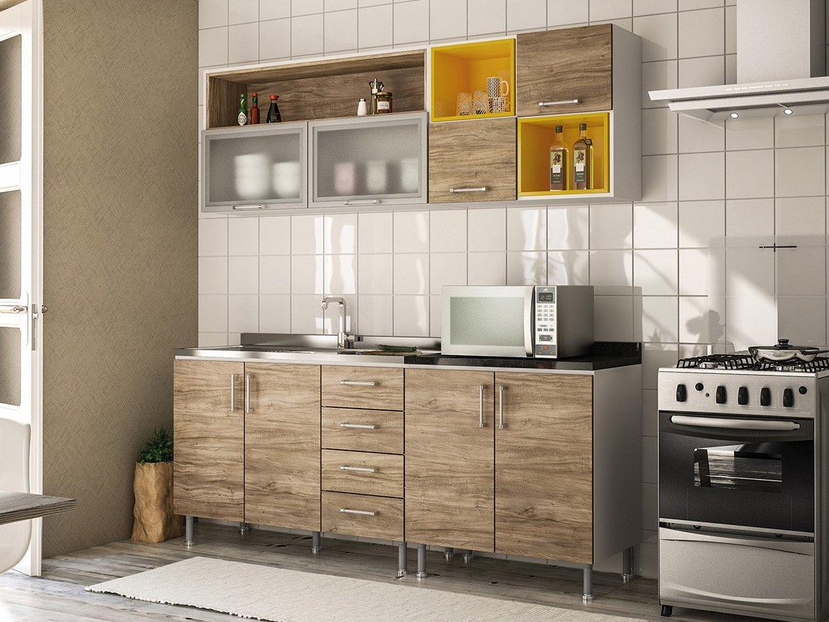 Foto 1 - Cozinha Completa Politorno Floripa com Balcão - 8 Portas 4 Gavetas