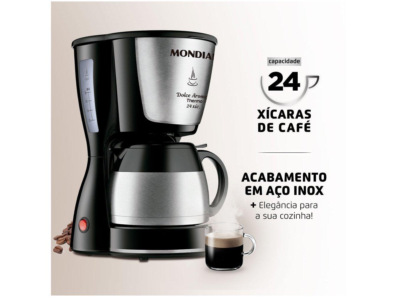 Cafeteira Elétrica Mondial Dolce Arome Thermo Inox C-33 JT 24 Xícaras - Preto - 220V - 2