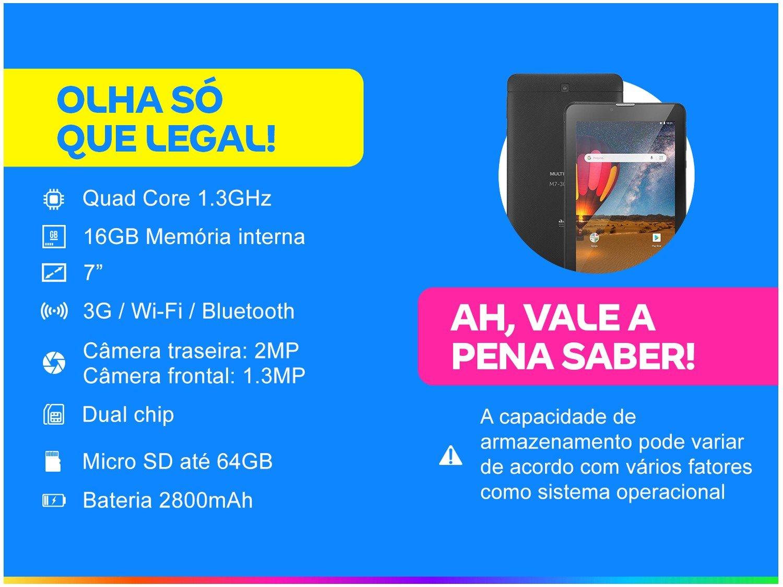 "Tablet Multilaser M7 3G Plus NB304 16GB 7"" - 3G Wi-Fi Android 8.0 Quad Core Câmera Integrada - Bivolt - 4"