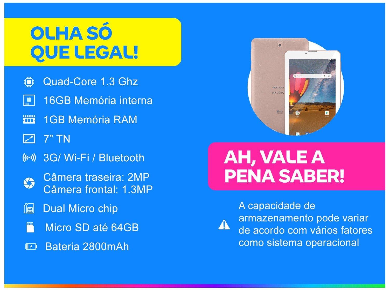 "Tablet Multilaser M7 3G Plus NB305 16GB 7"" - 3G Wi-Fi Android 8.0 Quad Core Câmera Integrada - Bivolt - 1"