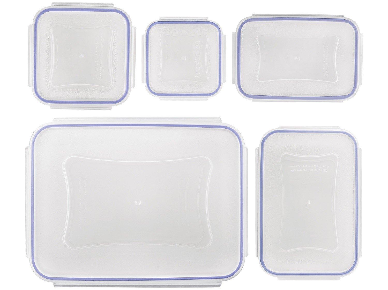 Jogo de Potes de Plástico Hermético Euro Home - com Tampa Stock 5 Peças - 4