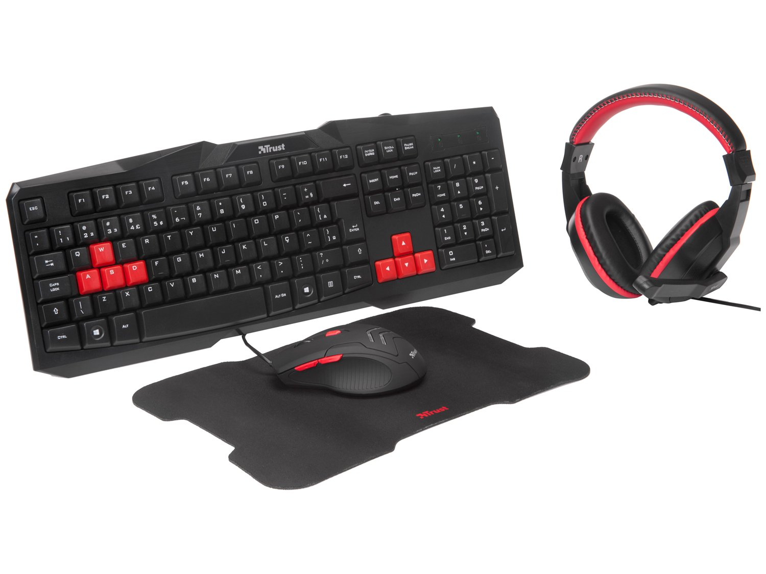 Kit Gamer Trust Teclado e Mouse com Headset - Mouse Pad ZIVA + Rainbow Six Siege Starter Edition