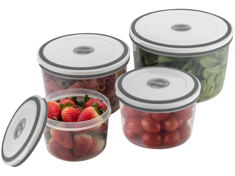 Jogo de Potes de Plástico Hermético Electrolux - com Tampa Redondo A15405201 4 Peças