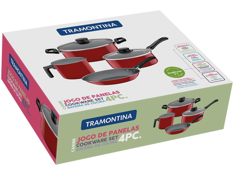 Jogo de Panelas Tramontina Antiaderente 27899/107 Vermelha 4 Peças - 2