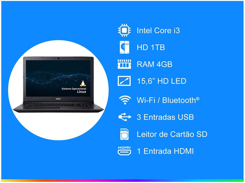 """Notebook Acer Aspire 3 A315-53-343Y Intel Core i3 - 4GB 1TB 15,6"""" Linux - Bivolt - 1"""