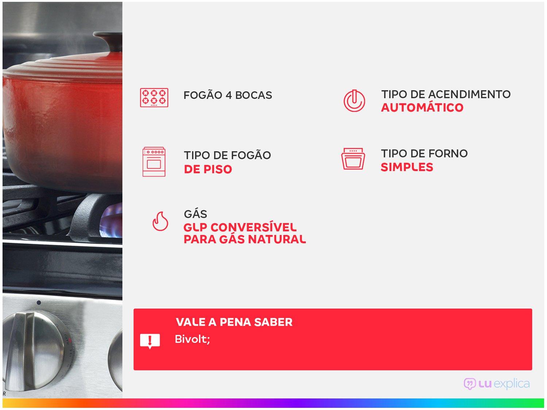 Fogão 4 Bocas Dako Preto Acendimento Automático - DAKO GLASS DP4VUP-PF0 4Q - Bivolt - 1