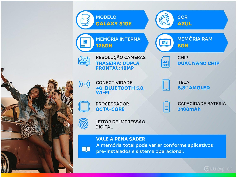 """Smartphone Samsung Galaxy S10e 128GB Azul 4G - 6GB RAM Tela 5,8"""" Câm. Dupla + Câm. Selfie 10MP - 1"""