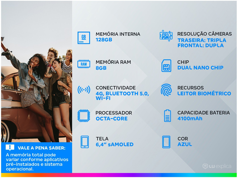 "Smartphone Samsung Galaxy S10+ 128GB Azul 4G - 8GB RAM Tela 6,4"" Câm. Tripla + Câm. Selfie Dupla - 1"