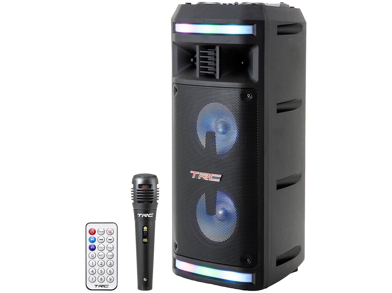 Caixa de Som Bluetooth TRC 335 Ativa Amplificada - 200W com Microfone USB - Bivolt