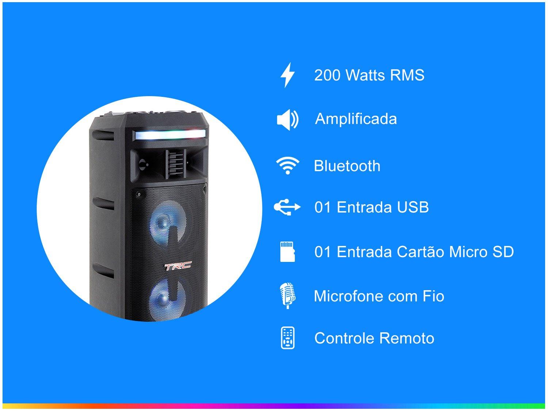 Caixa de Som Bluetooth TRC 335 Ativa Amplificada - 200W com Microfone USB - Bivolt - 4