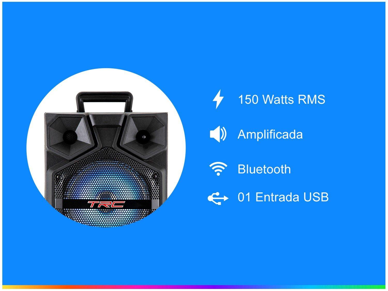Caixa de Som Bluetooth TRC 512 Ativa Amplificada - 150W com Microfone USB - 2