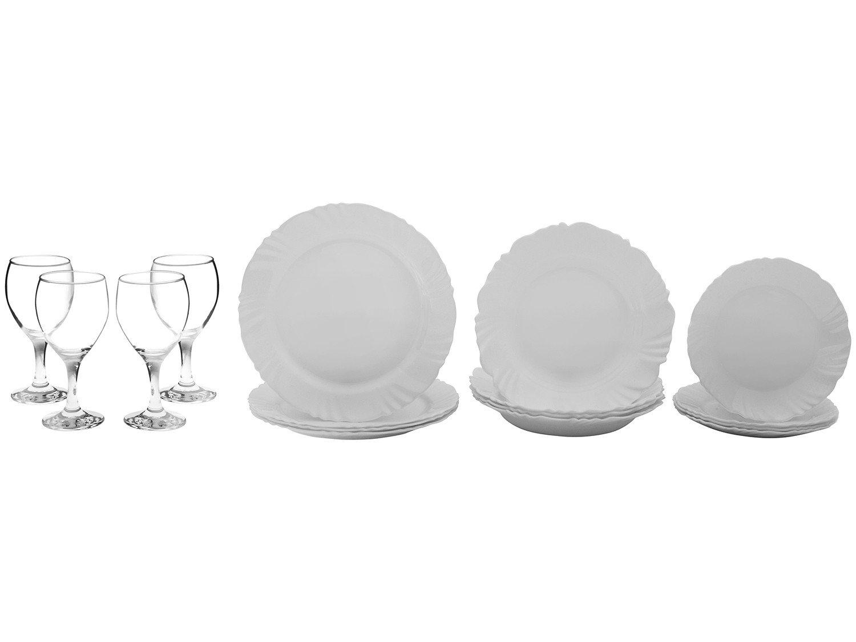 Aparelho de Jantar com Taça 16 Peças Duralex - Redondo Branco Pétala