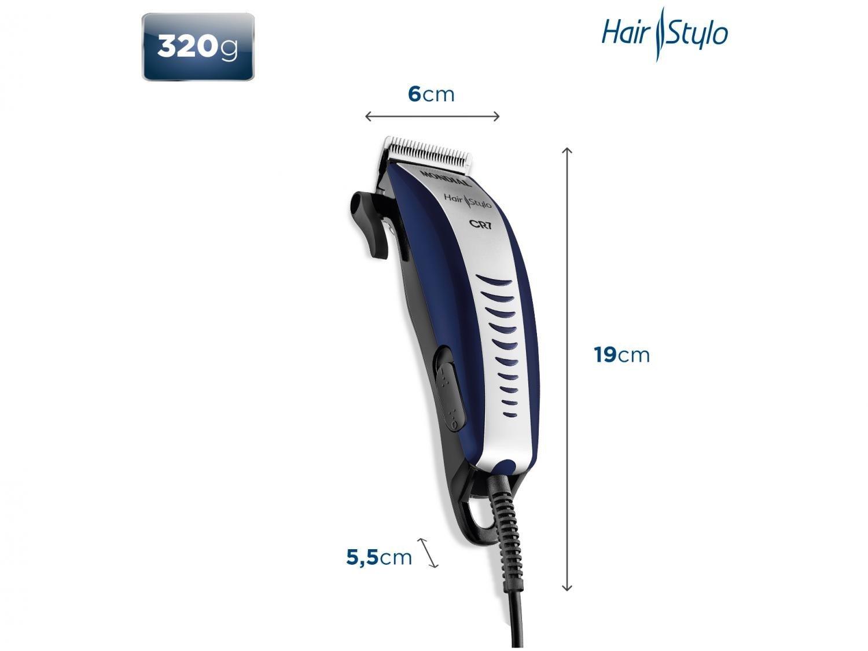 Máquina de Cortar Cabelo Mondial Hair Stylo CR-07 4 pentes - Azul/Prata - 220v - 16