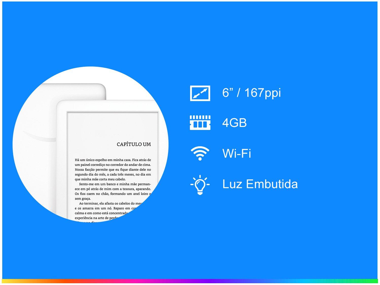 "Kindle 10ª Geração Amazon Tela 6"" 4GB Wi-Fi - Luz Embutida Branco - Bivolt - 1"