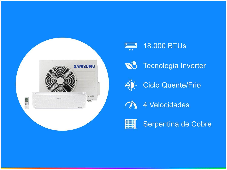 Ar-condicionado Split Samsung Inverter 18.000BTUs - Quente/Frio Wind Free AR18NSPXBWKNAZ - 220 V - 1