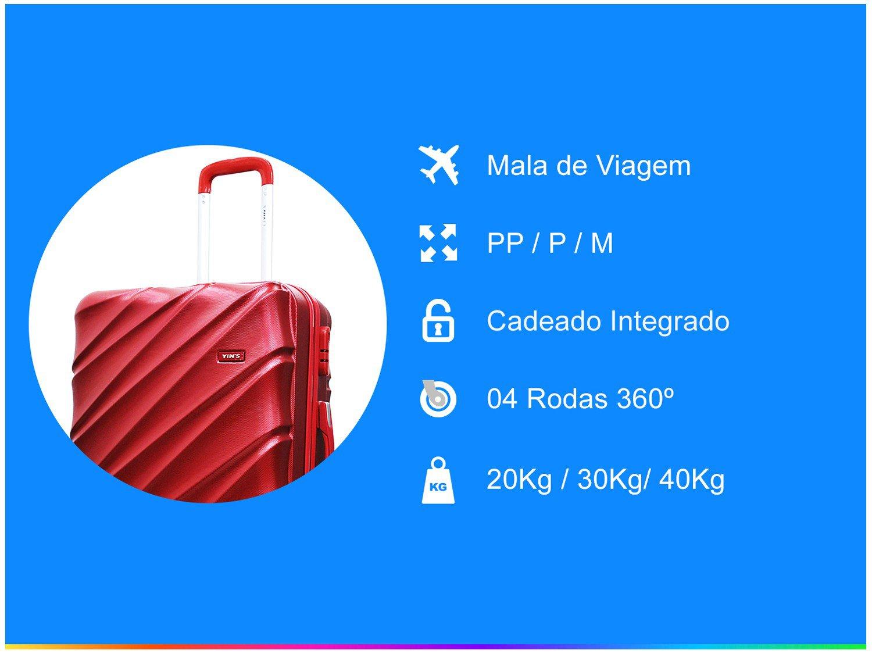 Conjunto de Malas de Viagem Yins Brasil Com Rodinhas Em ABS - 1