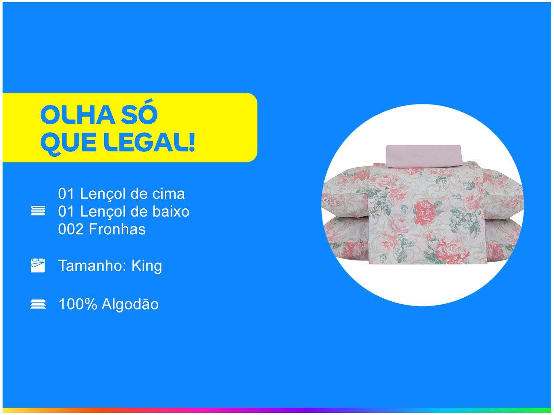 Jogo de Cama King 100% Algodão 150 Fios - Santista Giulia Prata 4 Peças - 1