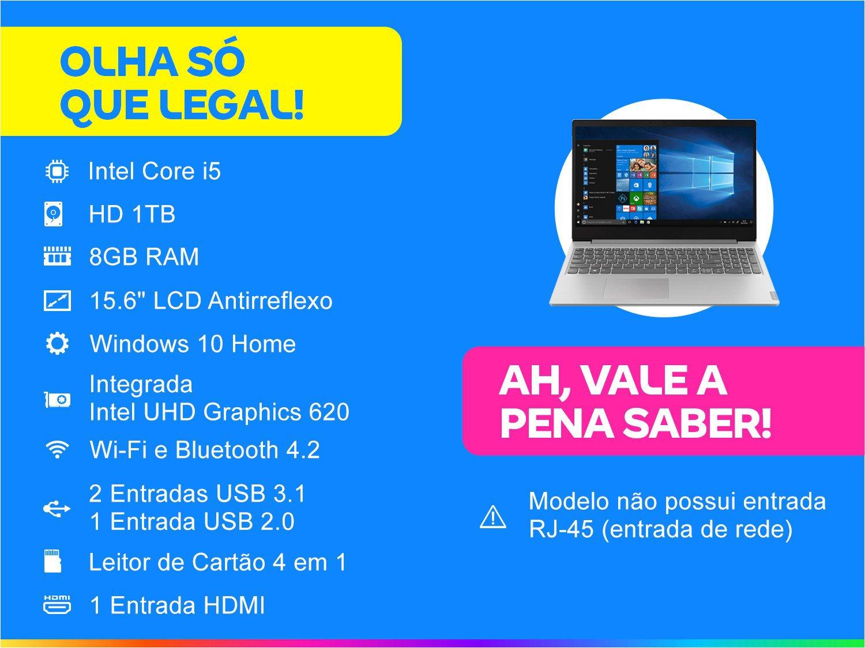 """Notebook Lenovo Core i5-8265U 8GB 1TB Tela 15.6"""" Windows 10 Ideapad S145 - 1"""