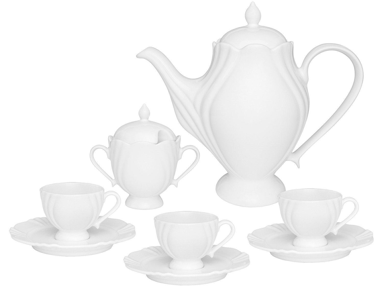 Jogo de Café com Bule e Xícaras de Porcelana - 14 Peças Oxford Soleil