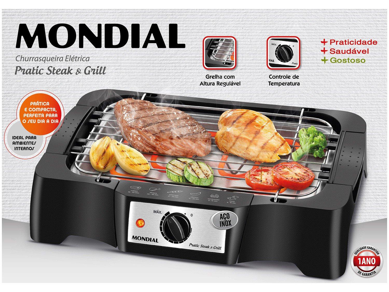 Churrasqueira Elétrica Mondial Pratic Steak & Grill – CH-07 com Controle de Temperatura - 220V - 8