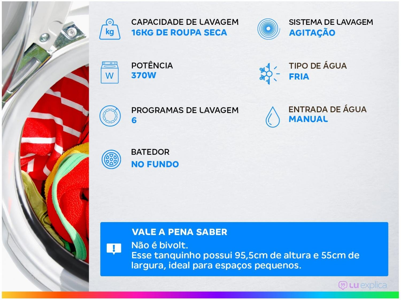 Lavadora Colormaq LCS16P Semiautomática com Reúso de Água Branca – 16Kg - 110v - 2